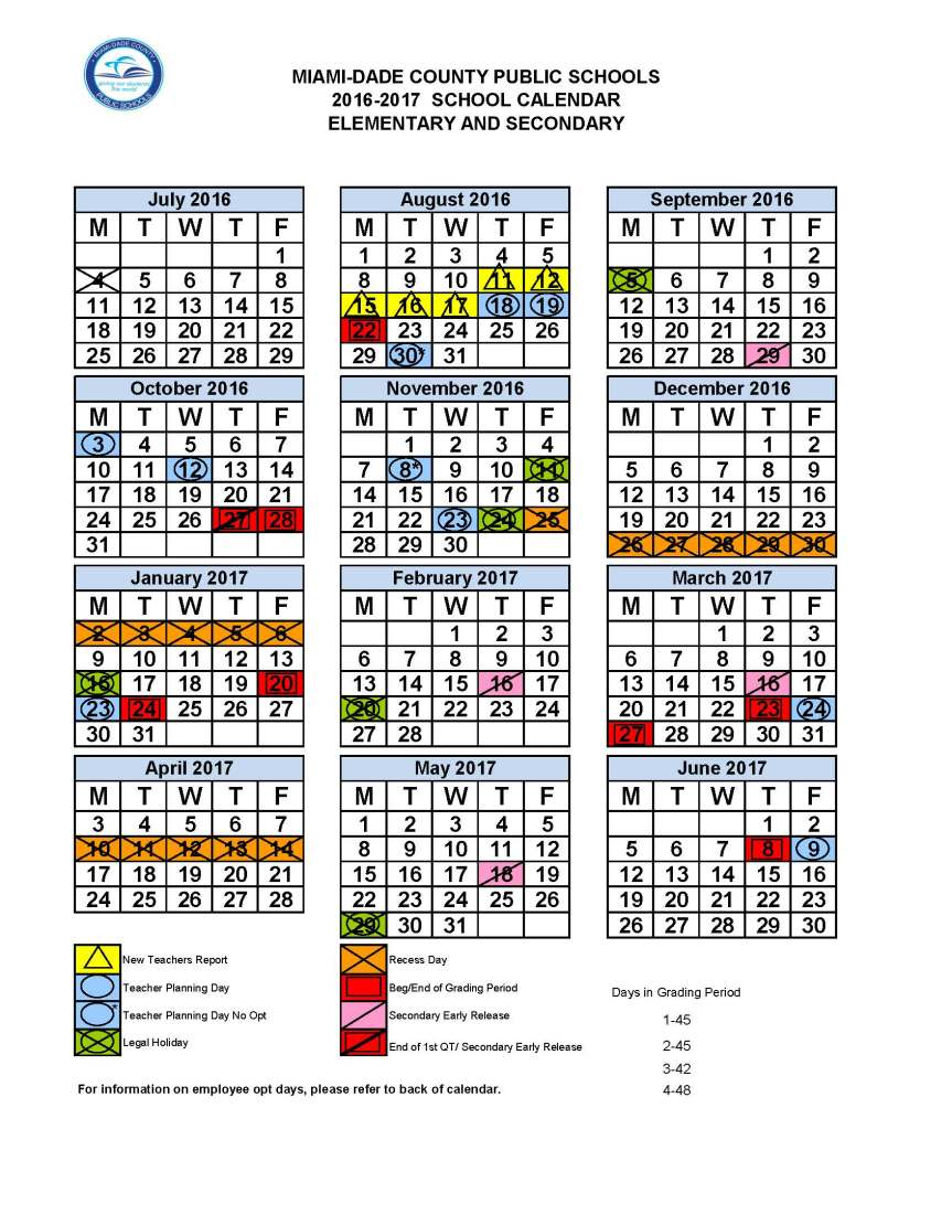 Mdcps 2016 2017 Academic Calendar Dr Dorothy Bendross Mindingall