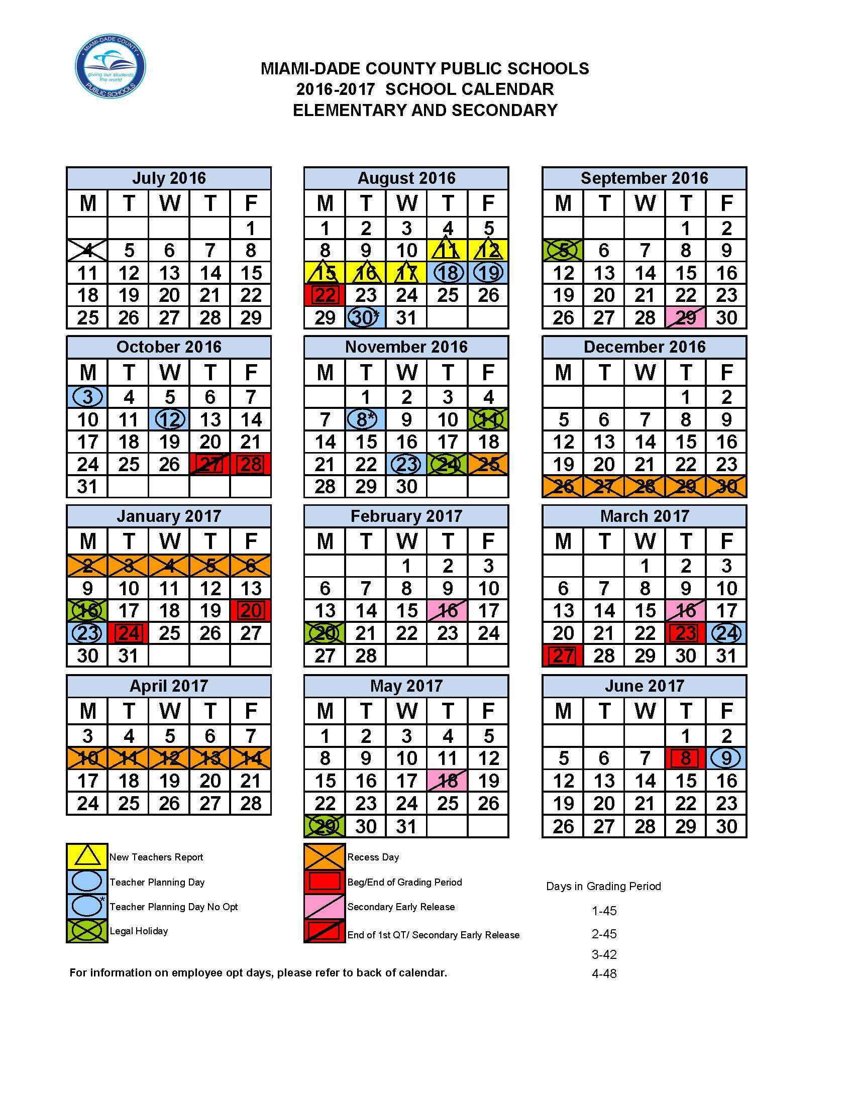 Miami Dade County Public Schools Calendar 2022.Mdcps 2016 2017 Academic Calendar Dr Dorothy Bendross Mindingall