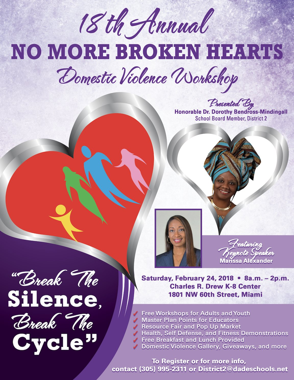 18th Annual No More Broken Hearts Domestic Violence Workshop Break The SilenceBreak Cycle Dr Dorothy Bendross Mindingall